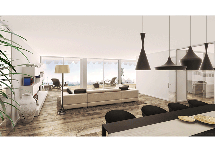 3d innenraumvisualisierung tower w15 wohnbereich 3d agentur berlin. Black Bedroom Furniture Sets. Home Design Ideas