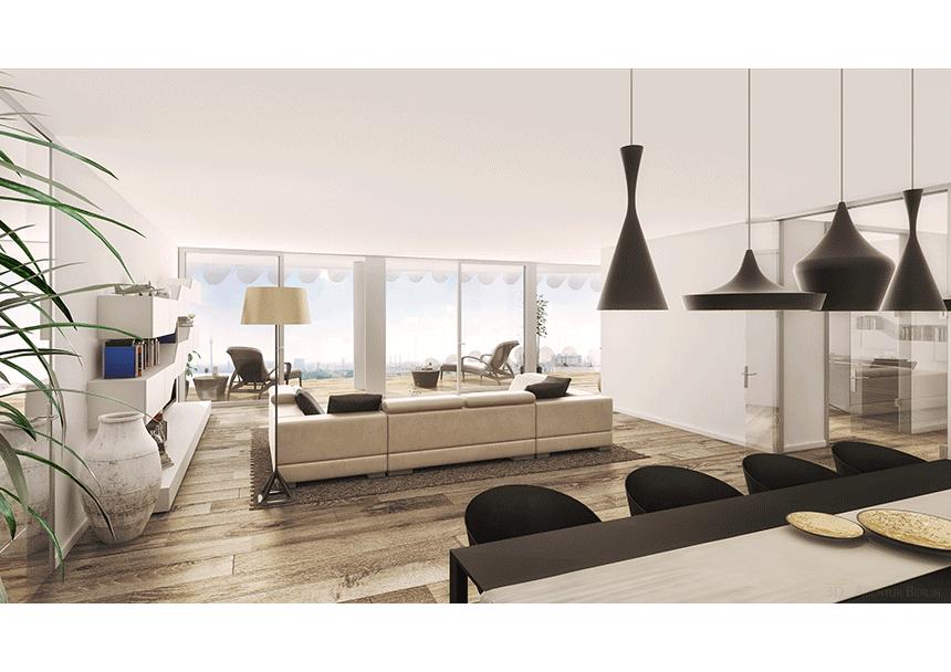 3d innenraumvisualisierung tower w15 wohnbereich 3d agentur berlin. Black Bedroom Furniture Sets. Home Design Ideas