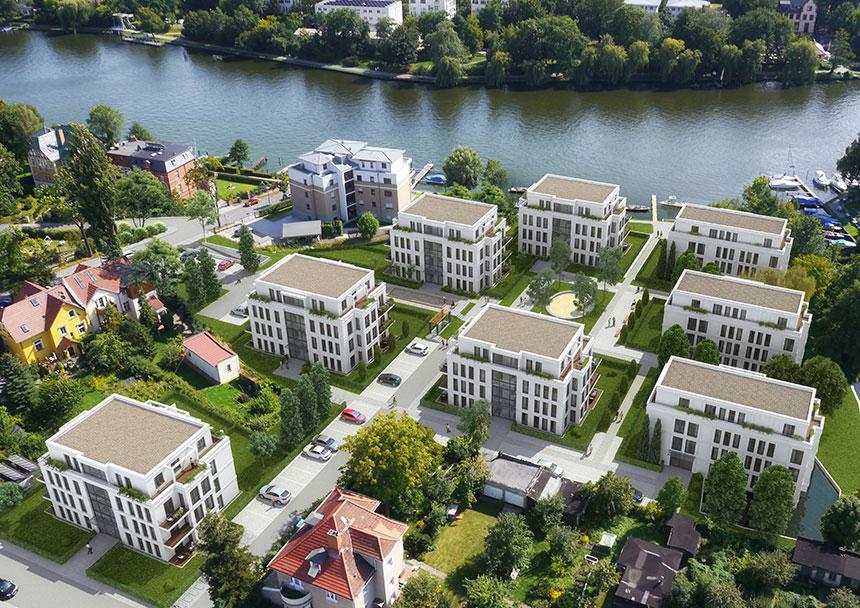 Architekturvisualisierung Berlin hirschgartenufer vogelperspektive 3d agentur berlin