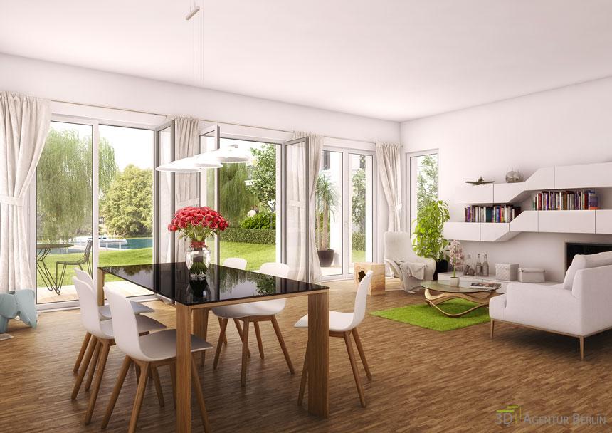 3d innenraum visualisierung hirschgartenufer essbereich for Innenraum design berlin