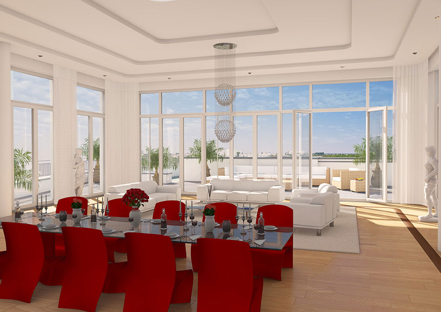 katharinenpalais penthouse 3d innenraumvisualisierung 3d agentur berlin. Black Bedroom Furniture Sets. Home Design Ideas