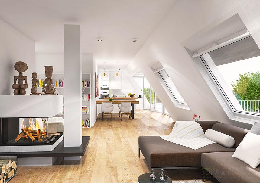 3d innenraumvisualisierung dachgeschosswohnung 3d agentur berlin. Black Bedroom Furniture Sets. Home Design Ideas