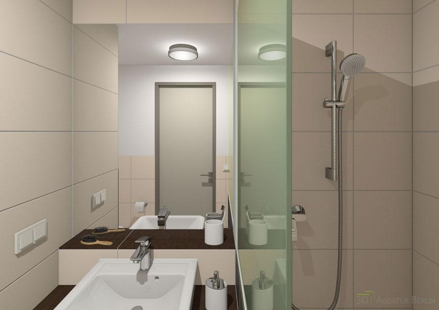 Bad Studenten Apartment 3D Innenraumvisualisierung: 3D Agentur Berlin