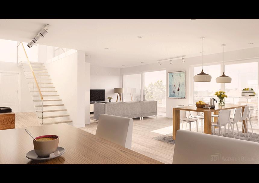 3d innenraumvisualisierung dachgescho 3d agentur berlin for Innenraum design berlin