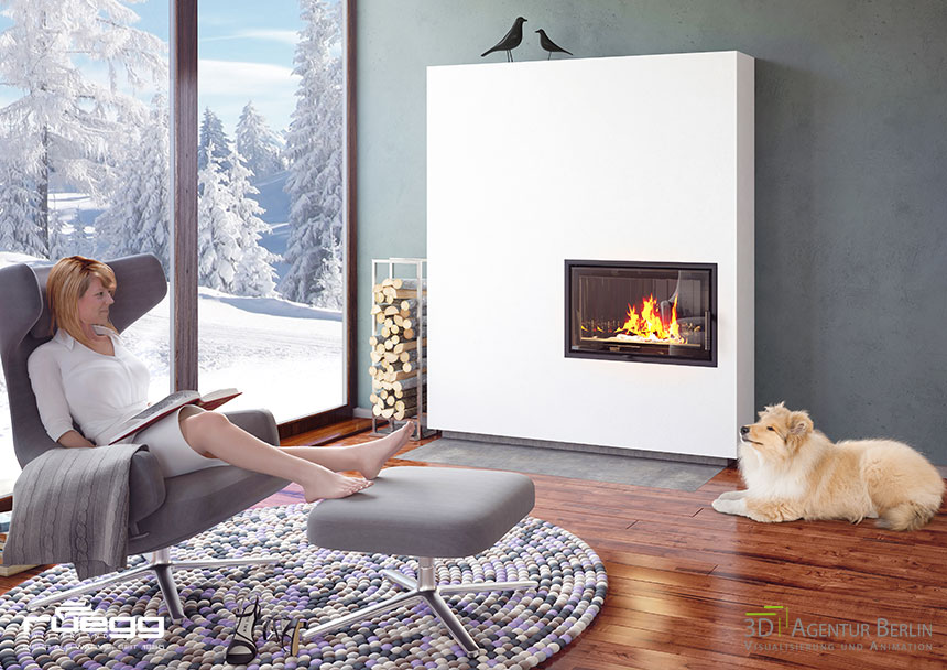 3d visualization of a fireplace 3d agentur berlin. Black Bedroom Furniture Sets. Home Design Ideas