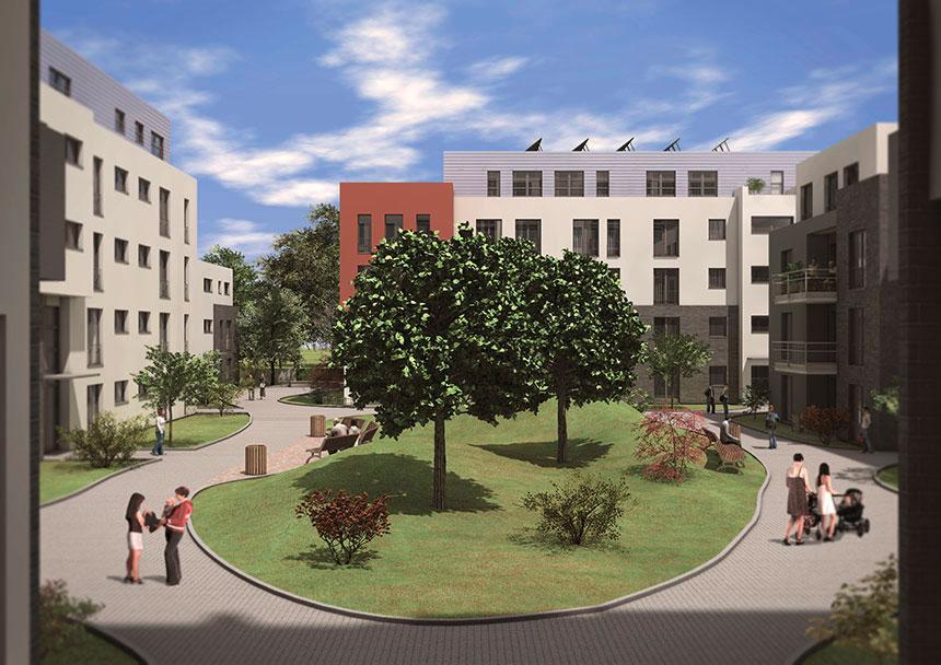 lindenpark 3d architecture visualization inner courtyard 02 3d agentur berlin. Black Bedroom Furniture Sets. Home Design Ideas