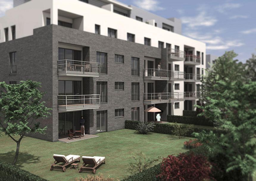 lindenpark k ln 3d architekturvisualisierung gartenansicht. Black Bedroom Furniture Sets. Home Design Ideas