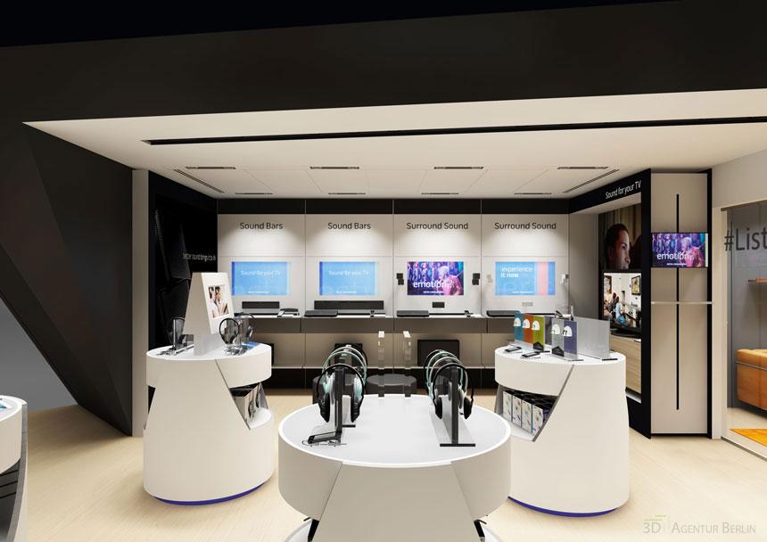 Shop design 3d visualization shopfitting bose 02 3d agentur berlin - Design agentur berlin ...