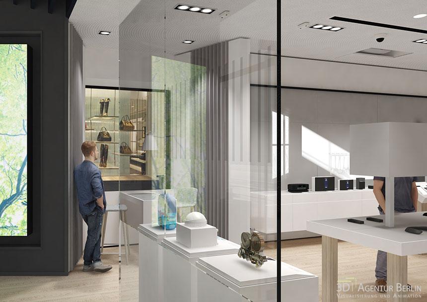 shopdesign 3d visualisierung bose london regent street flagship store 3d agentur berlin. Black Bedroom Furniture Sets. Home Design Ideas