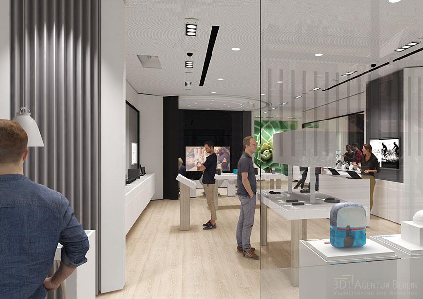 Innenansicht 3d visualisierung bose london regent street flagship store 3d agentur berlin - Design agentur berlin ...
