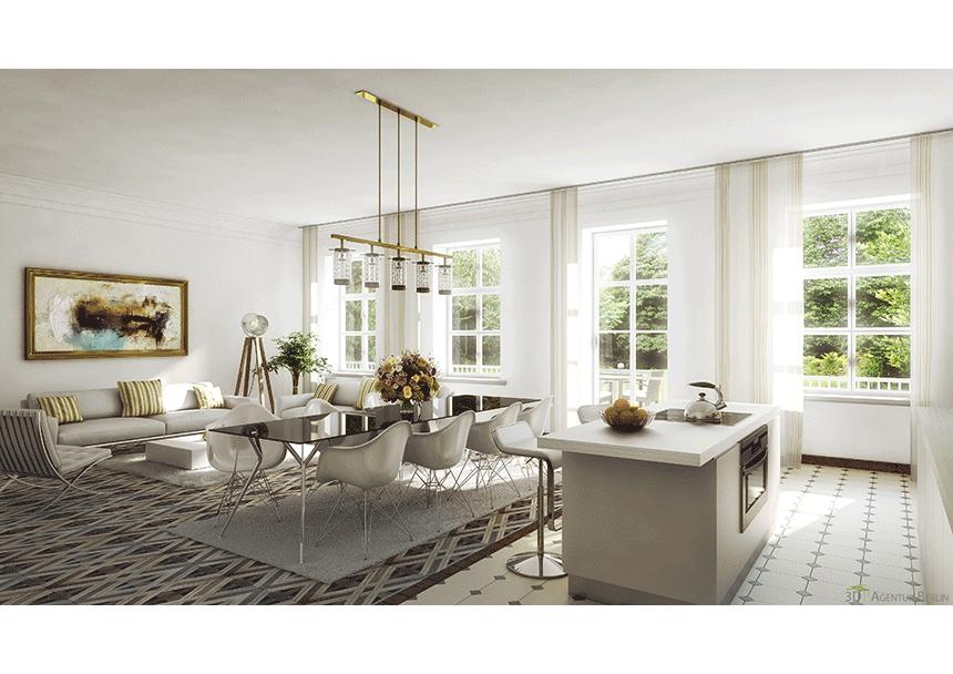 das wei e haus wohnbereich 3d agentur berlin. Black Bedroom Furniture Sets. Home Design Ideas