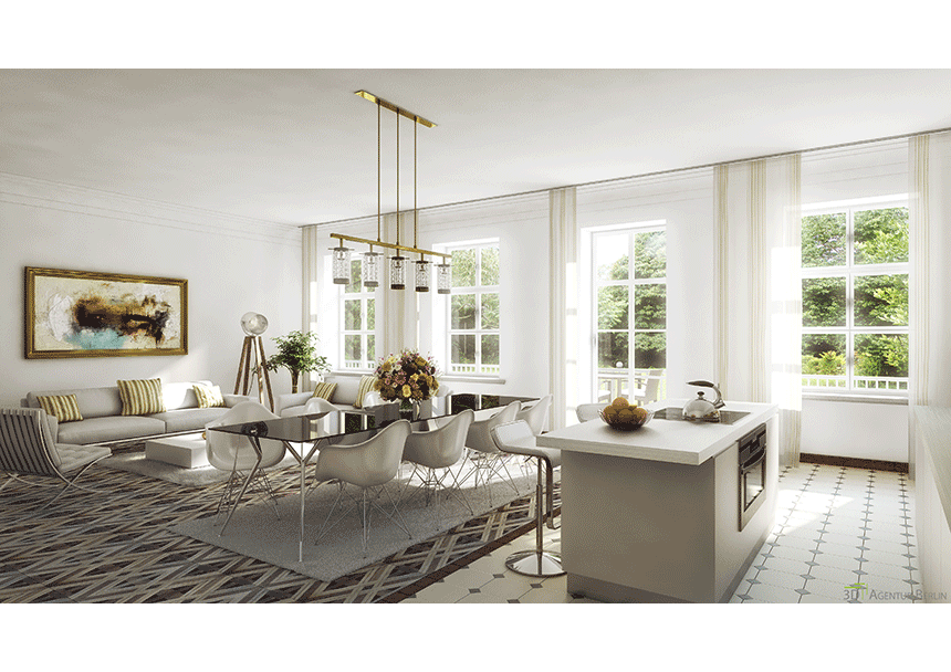 The white house living area 3d agentur berlin for Innenraum design berlin